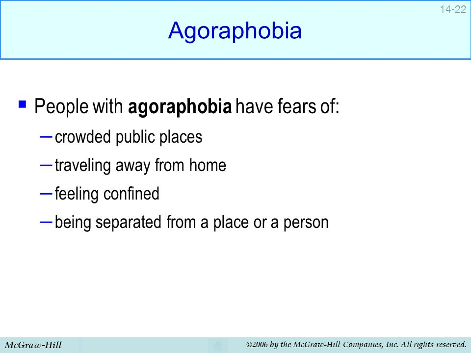 Agoraphobia People with agoraphobia have fears of: