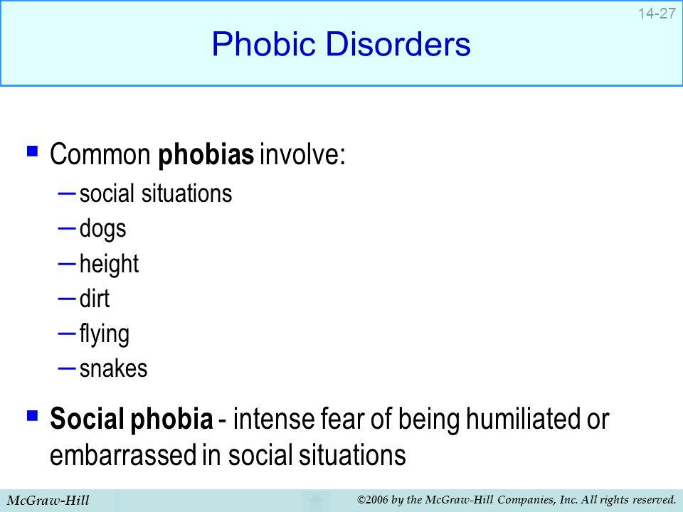 Phobic Disorders Common phobias involve:
