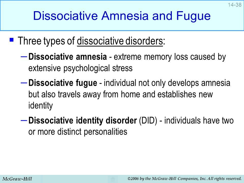 Dissociative Amnesia and Fugue
