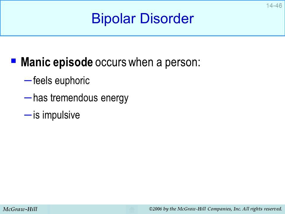 Bipolar Disorder Manic episode occurs when a person: feels euphoric