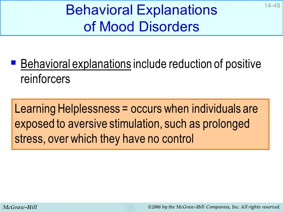 Behavioral Explanations of Mood Disorders
