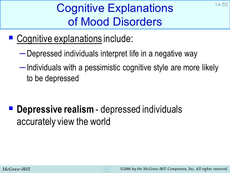 Cognitive Explanations of Mood Disorders