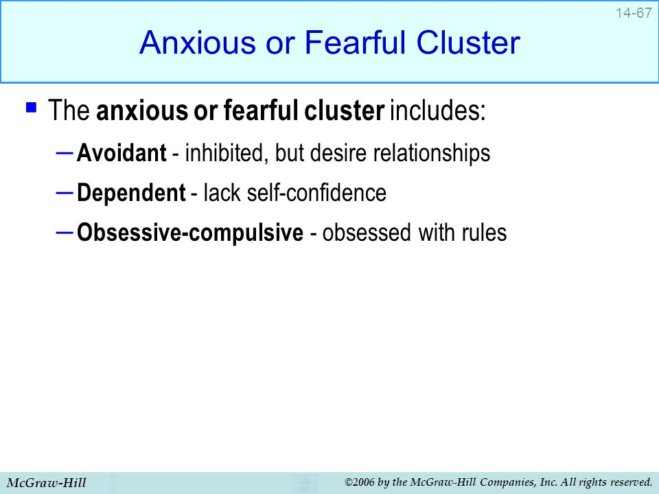 Anxious or Fearful Cluster