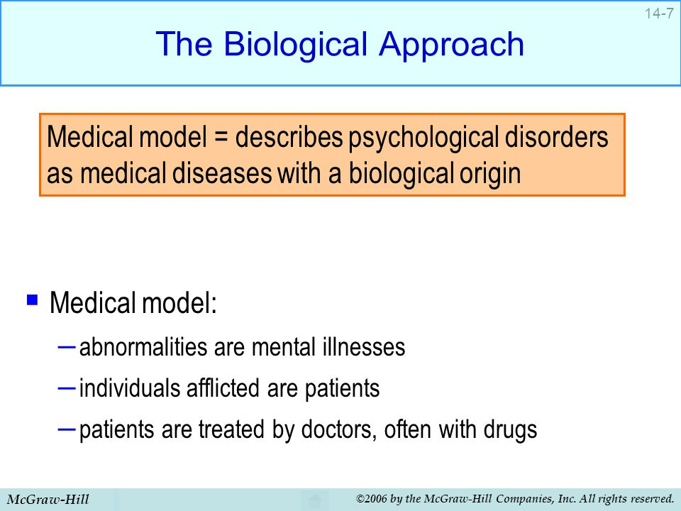 describe discuss the biological approach Chapter 16 objective 1 | identify the criteria for judging whether behavior is psychologically disordered objective 2 | contrast the medical model of psychological disorders with the biopsychosocial approach to disordered behavior objective 3 | describe the goals and content of the dsm-invite american psychiatric association's.