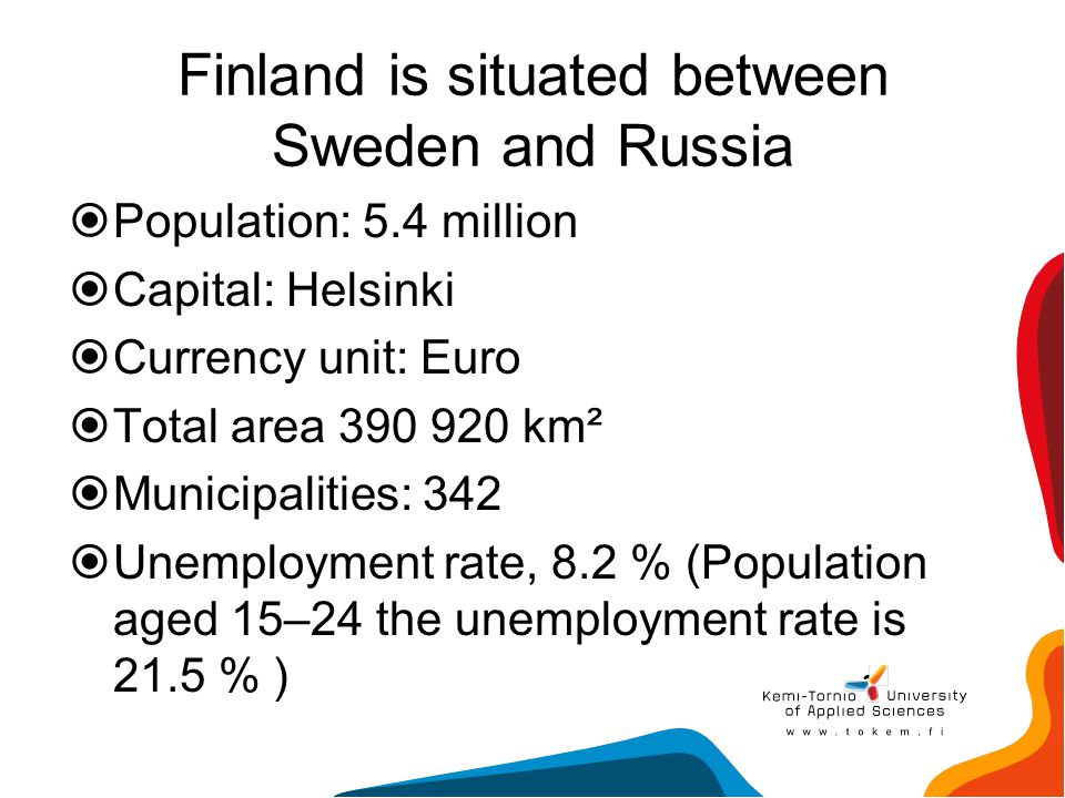 Finland is situated between Sweden and Russia