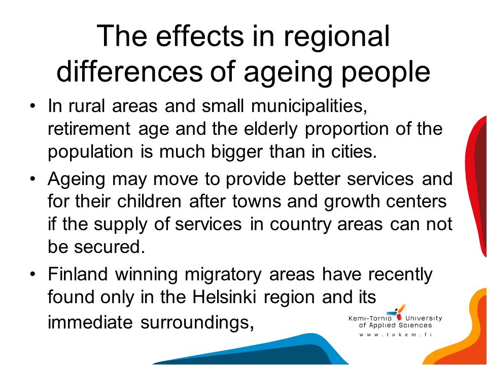 The effects in regional differences of ageing people