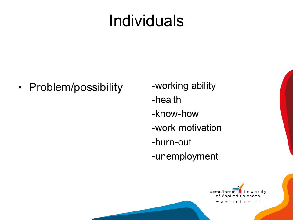 Individuals Problem/possibility -working ability -health -know-how