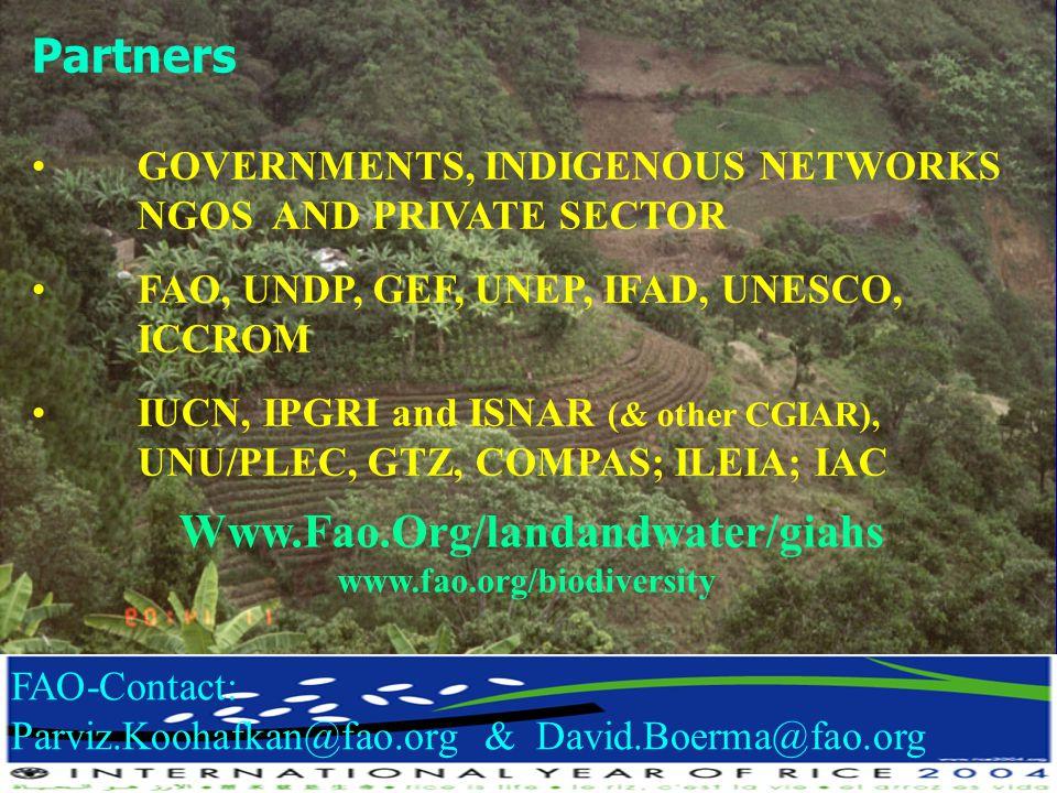 Partners Www.Fao.Org/landandwater/giahs