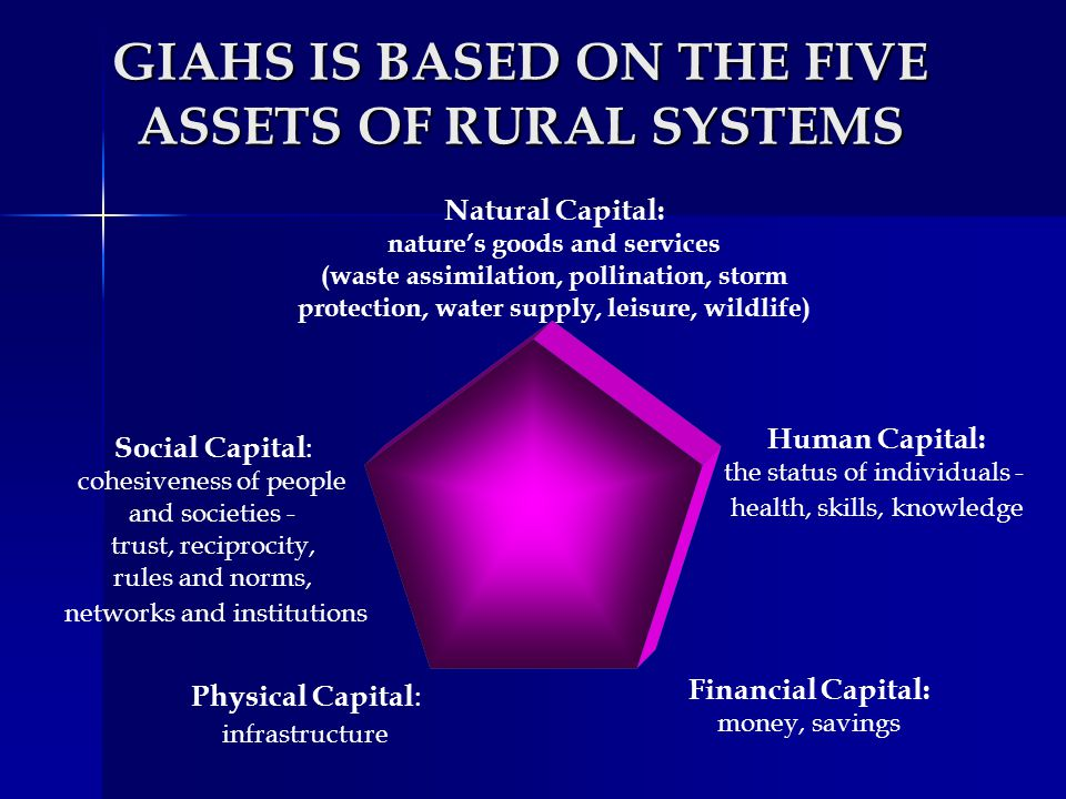 GIAHS IS BASED ON THE FIVE ASSETS OF RURAL SYSTEMS
