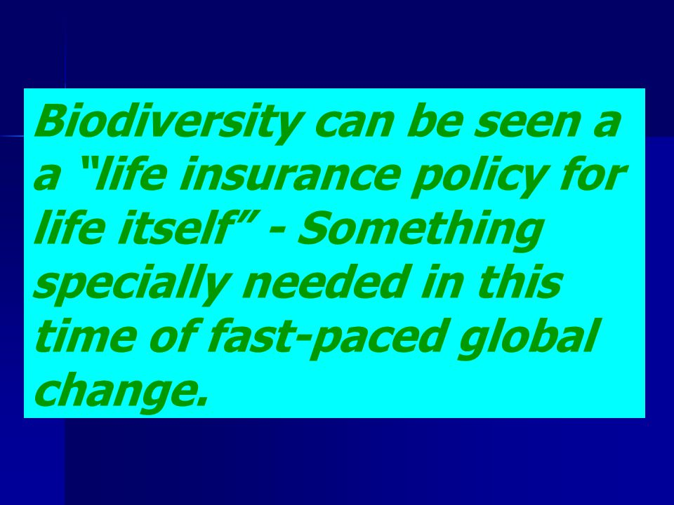 Biodiversity can be seen a a life insurance policy for life itself - Something specially needed in this time of fast-paced global change.