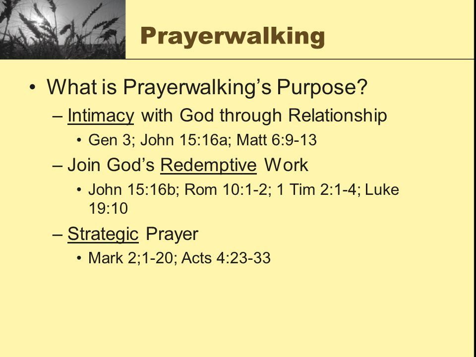 Prayerwalking What is Prayerwalking's Purpose