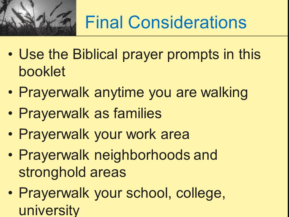 Final Considerations Use the Biblical prayer prompts in this booklet