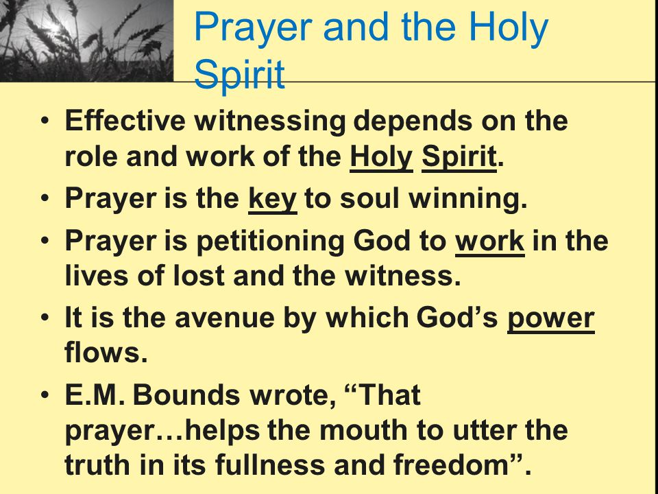 Prayer and the Holy Spirit