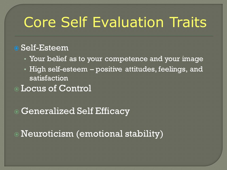 Core Self Evaluation Traits