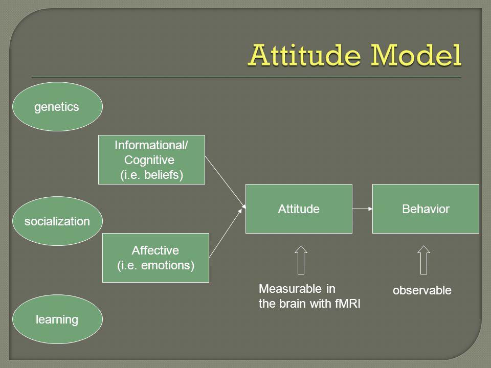 Attitude Model genetics Informational/ Cognitive (i.e. beliefs)