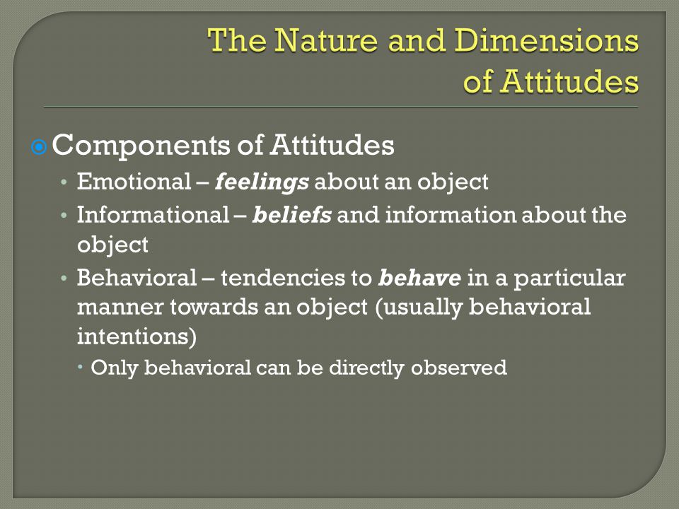 The Nature and Dimensions of Attitudes
