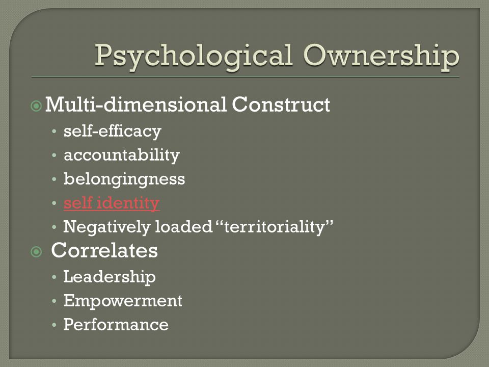 Psychological Ownership