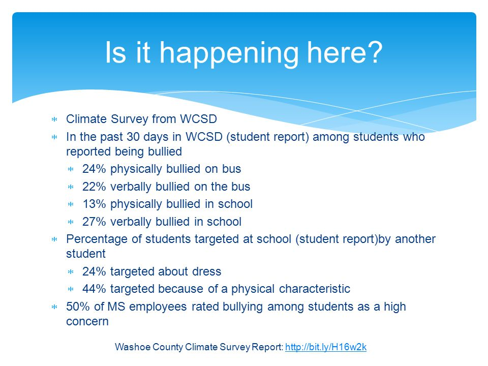 Is it happening here Climate Survey from WCSD