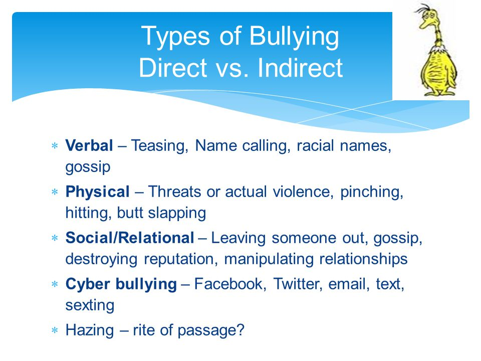 Types of Bullying Direct vs. Indirect