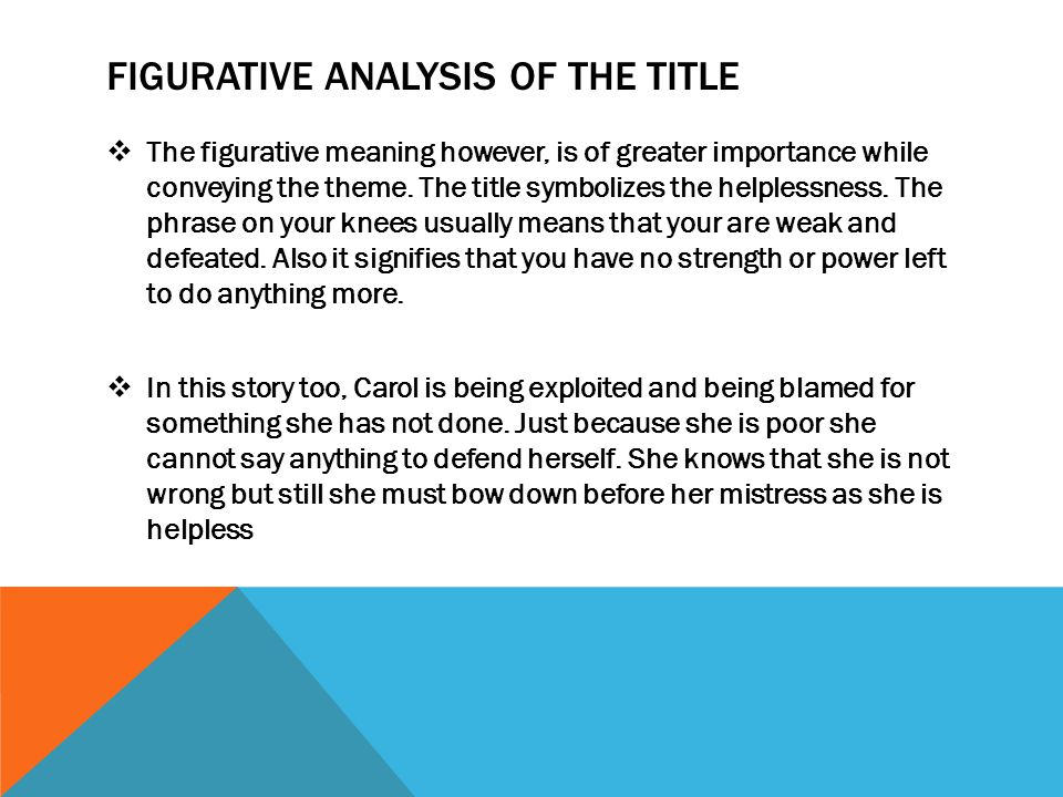 FIGURATIVE ANALYSIS OF THE TITLE