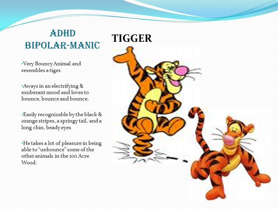 TIGGER ADHD BIPOLAR-MANIC Very Bouncy Animal and resembles a tiger.