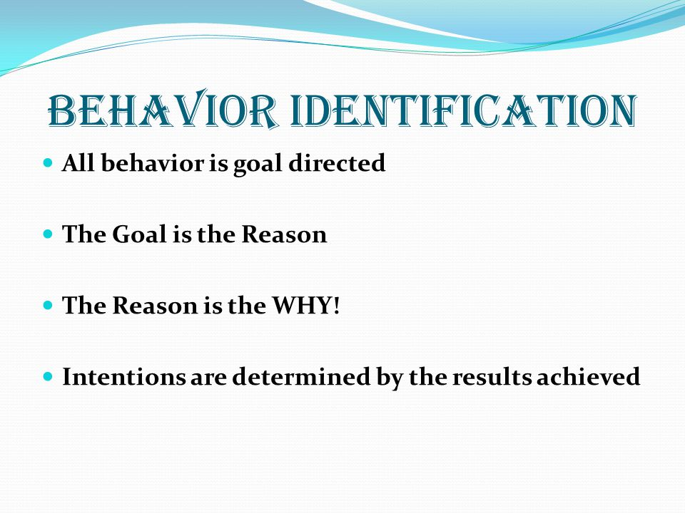 Behavior IDENTIFICATION