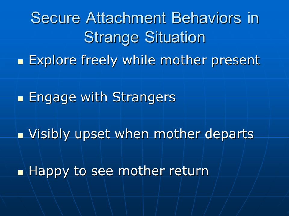 Secure Attachment Behaviors in Strange Situation