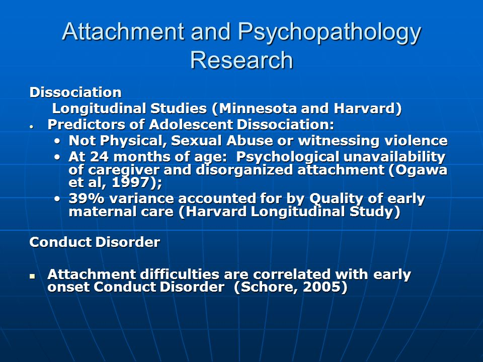 adult attachment psychopathology thesis Attachment, neurodevelopment  and psychopathology developmental pathways that carry risk for psychopathology the • adult attachment interview (aai.