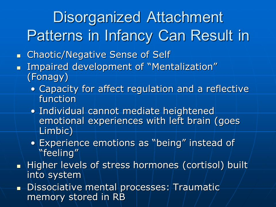 Disorganized Attachment Patterns in Infancy Can Result in