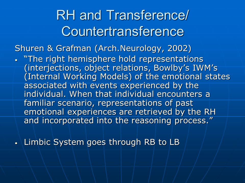 RH and Transference/ Countertransference