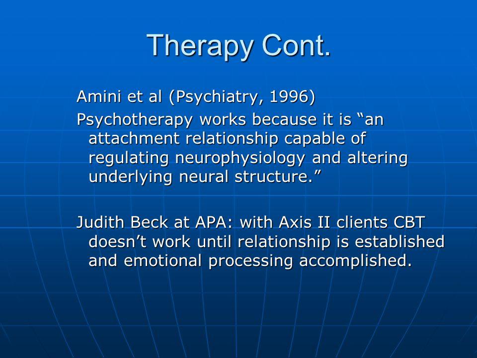 Therapy Cont. Amini et al (Psychiatry, 1996)