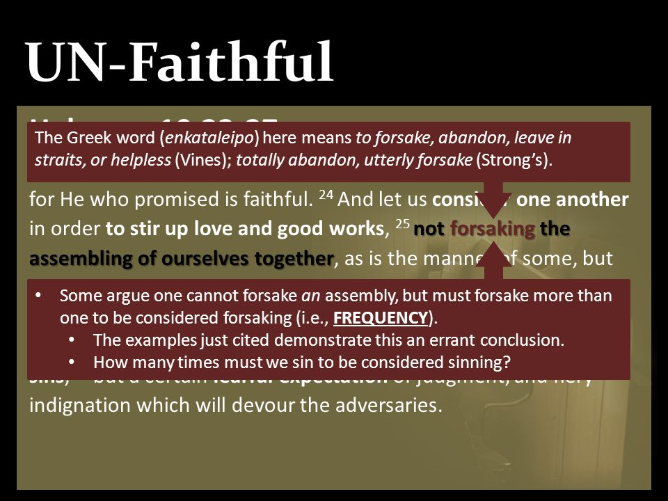 UN-Faithful Hebrews 10:23-27