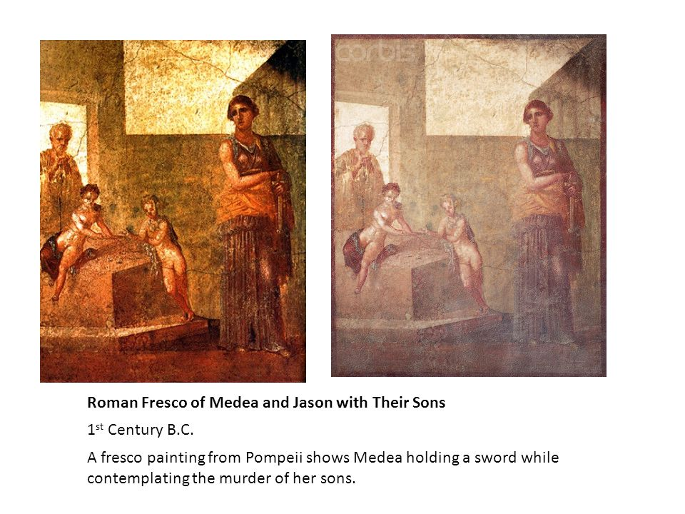 Roman Fresco of Medea and Jason with Their Sons