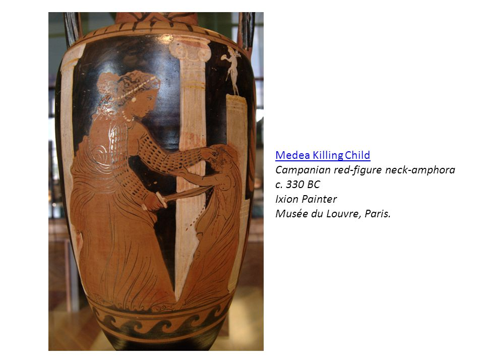 Medea Killing Child Campanian red-figure neck-amphora.