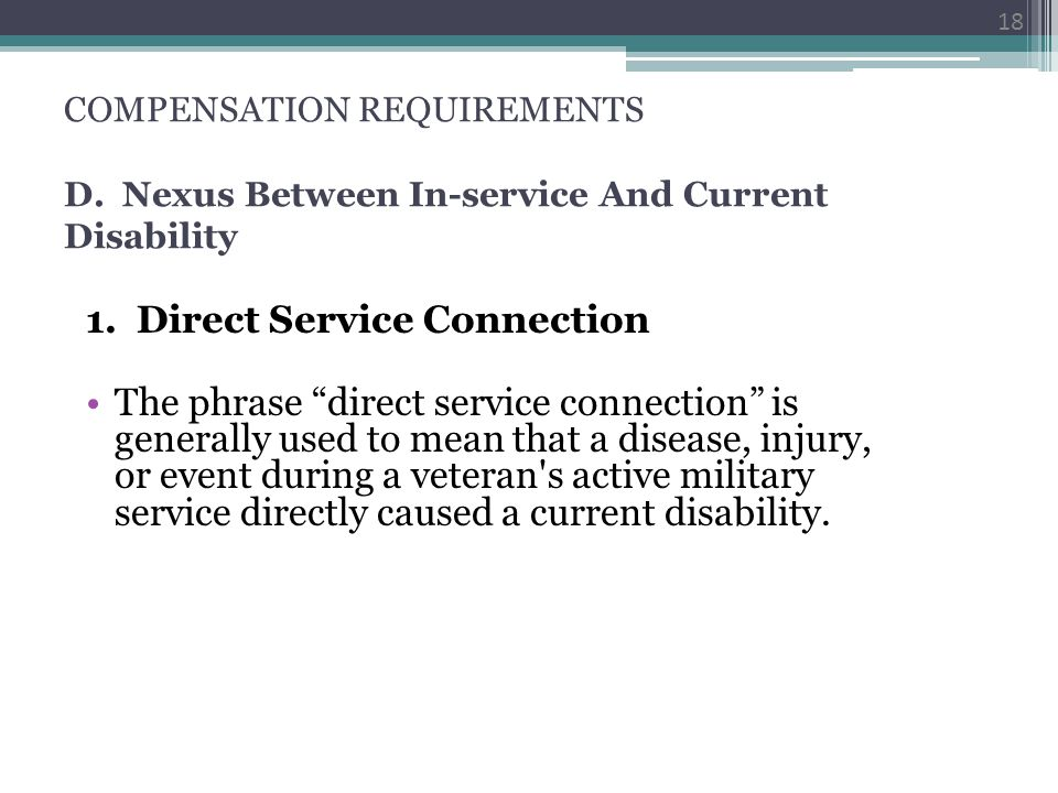 1. Direct Service Connection