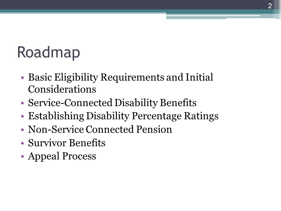 Roadmap Basic Eligibility Requirements and Initial Considerations