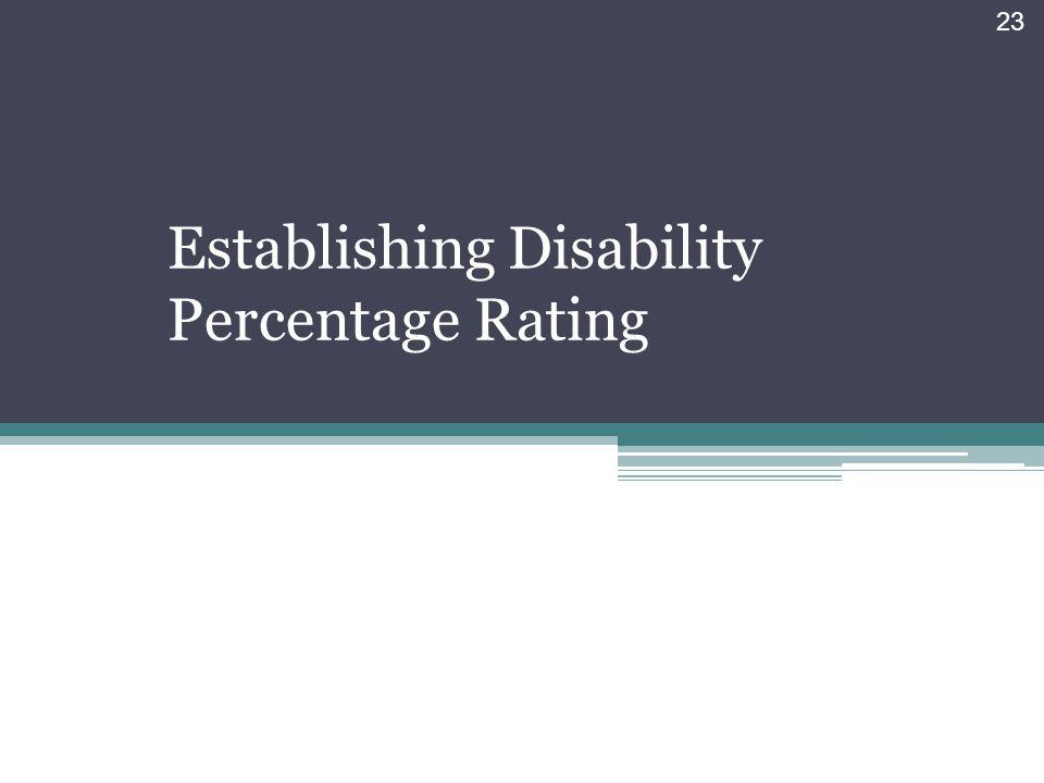 Establishing Disability Percentage Rating