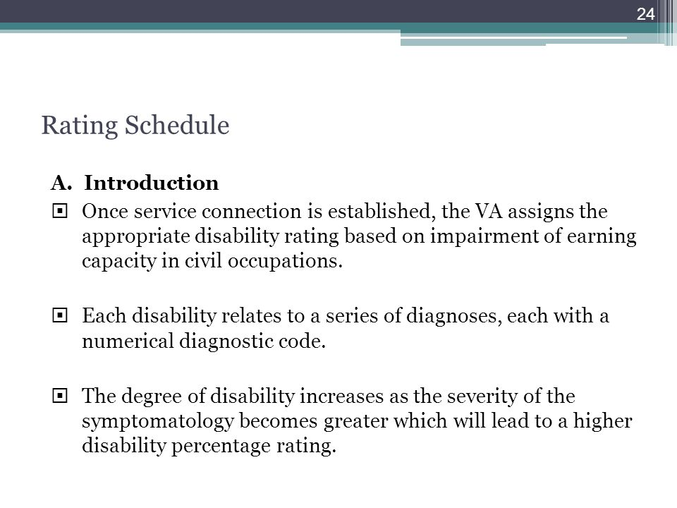Rating Schedule A. Introduction