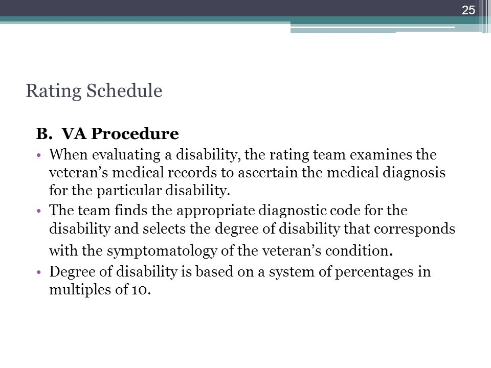 Rating Schedule B. VA Procedure