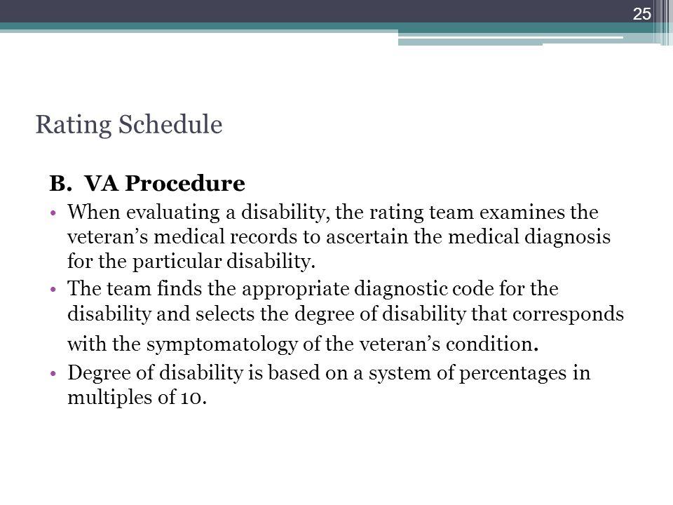 Rating Schedule B. VA Procedure