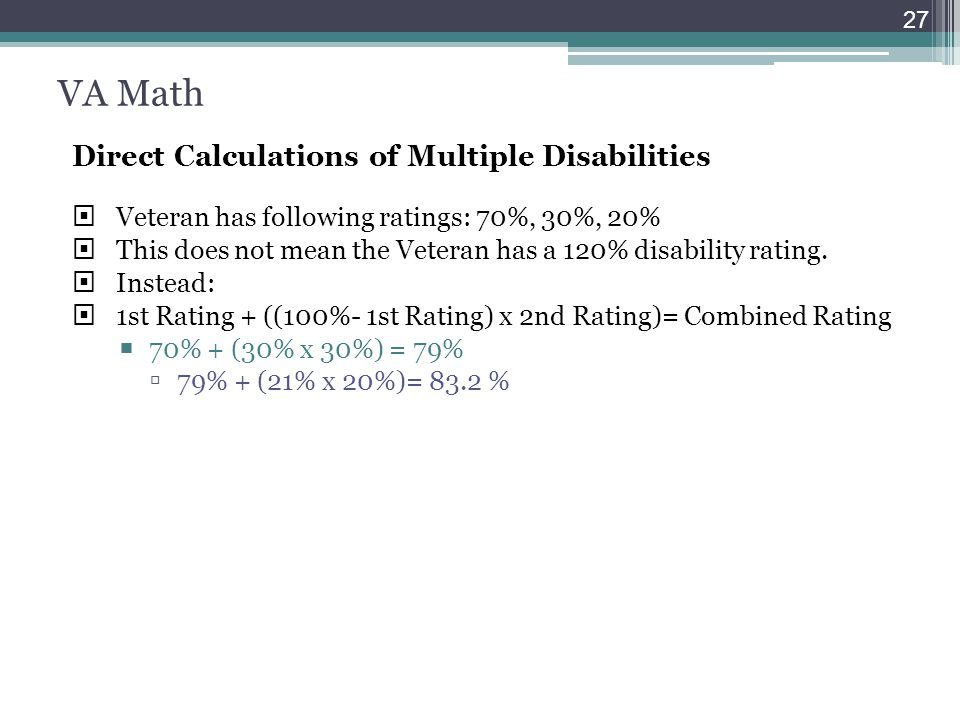 VA Math Direct Calculations of Multiple Disabilities