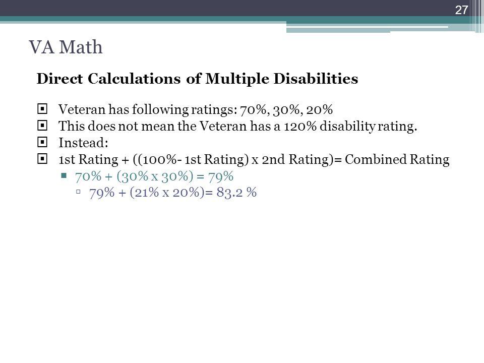 VA Math Direct Calculations of Multiple Disabilities