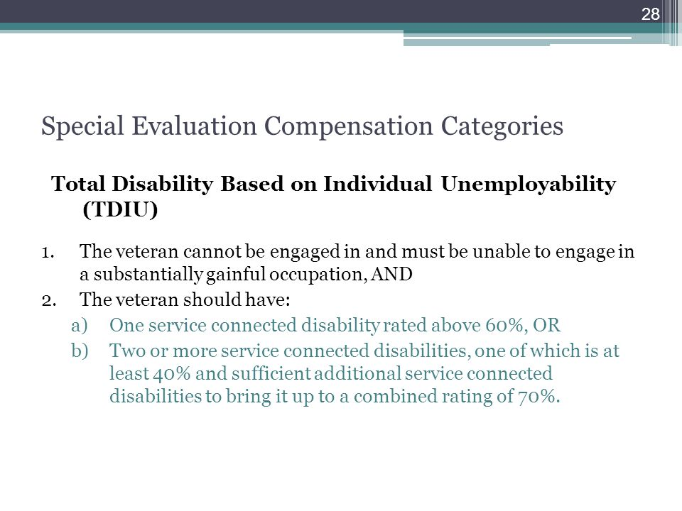 Special Evaluation Compensation Categories