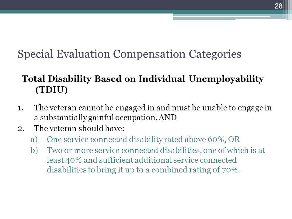 Special Evaluation Compensation Categories