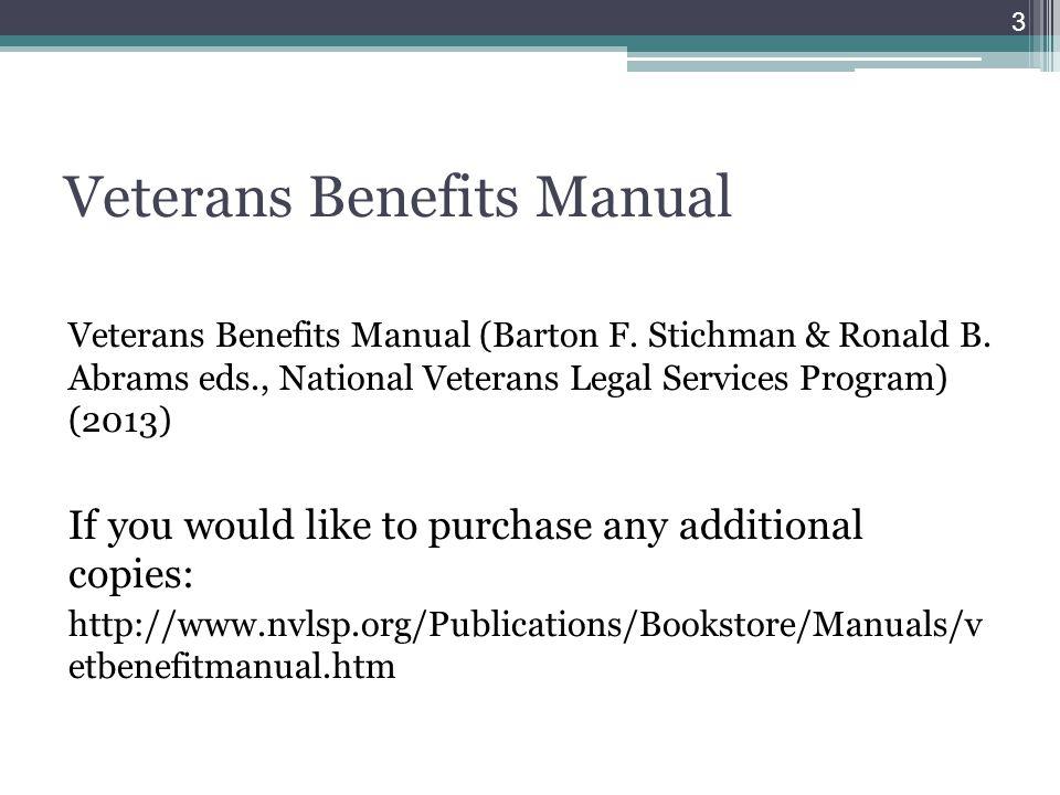 Veterans Benefits Manual