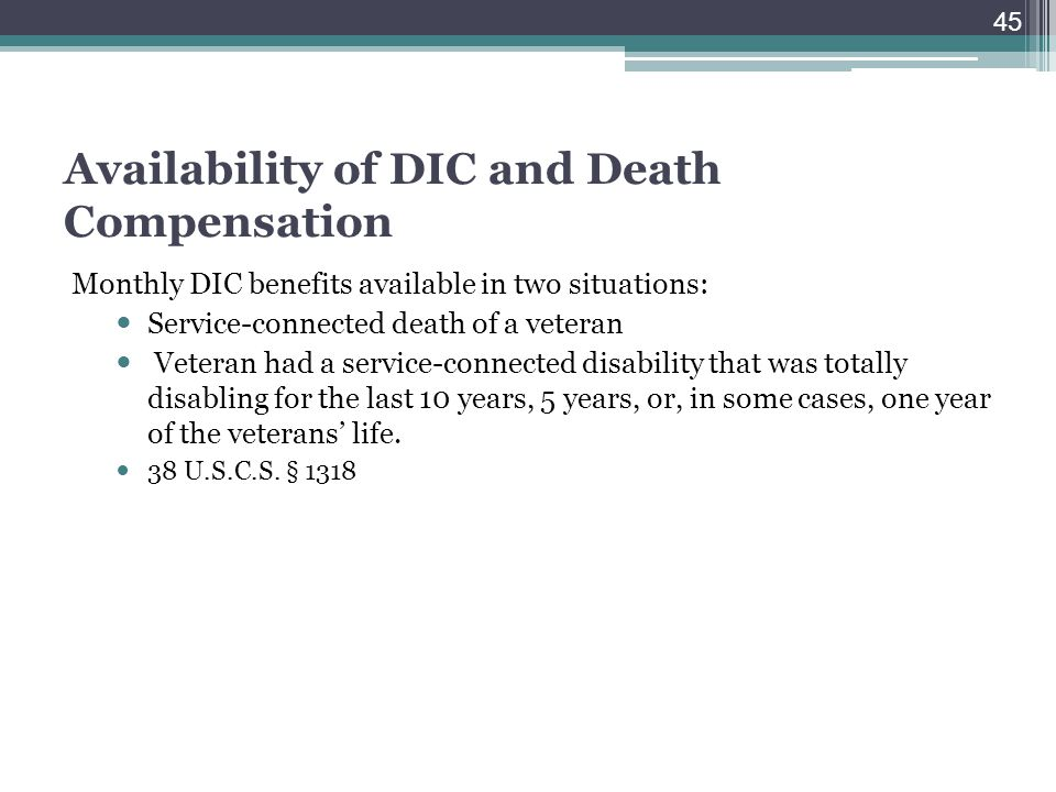 Availability of DIC and Death Compensation