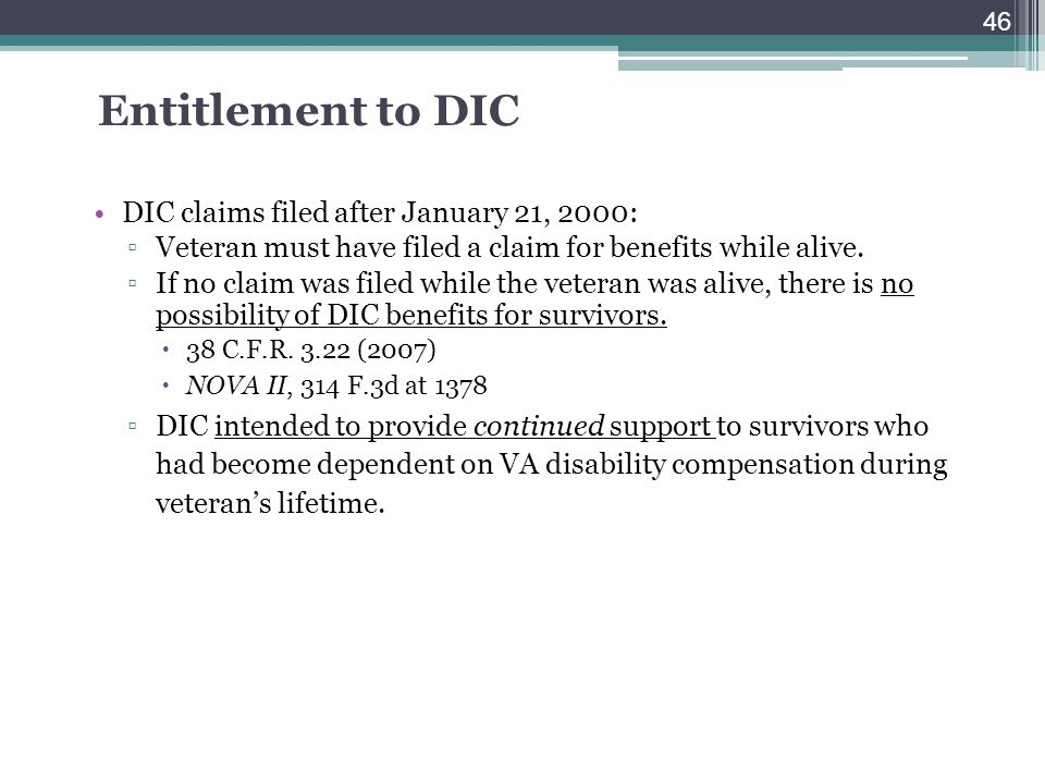 Entitlement to DIC DIC claims filed after January 21, 2000: