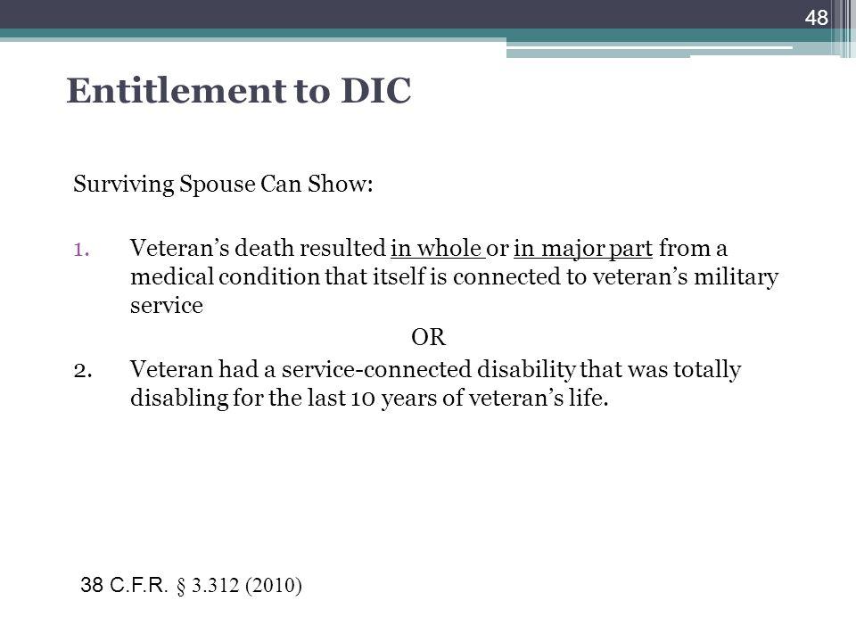 Entitlement to DIC Surviving Spouse Can Show: