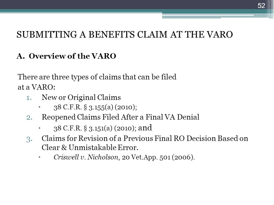 SUBMITTING A BENEFITS CLAIM AT THE VARO A. Overview of the VARO