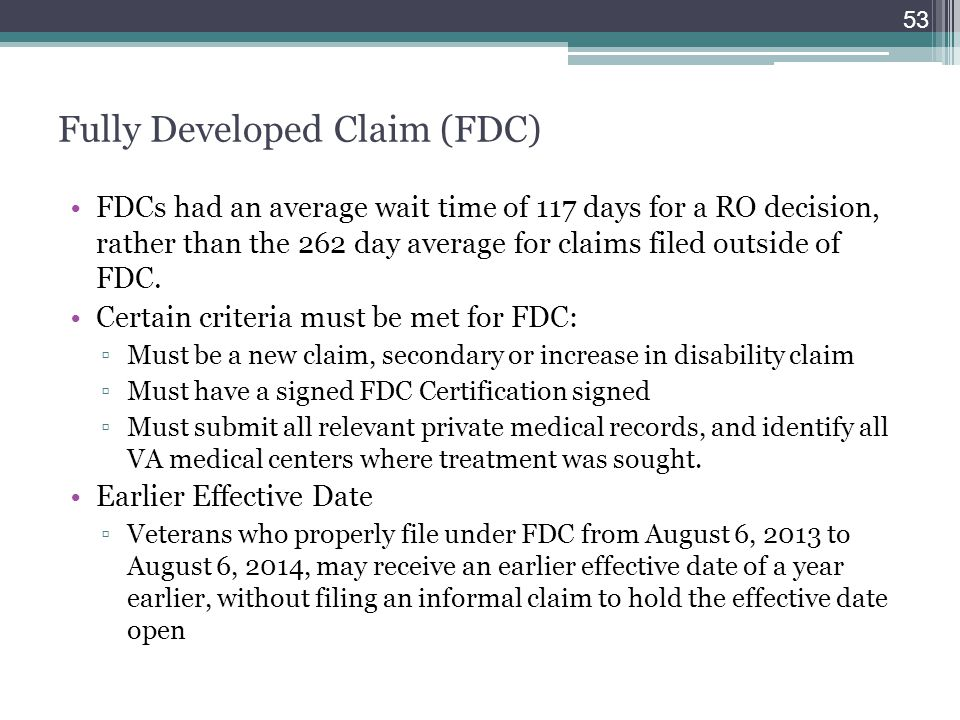 Fully Developed Claim (FDC)